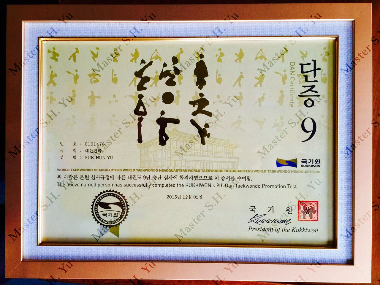 Kukkiwon World Tae Kwon Do Federation 9th Dan Certificate