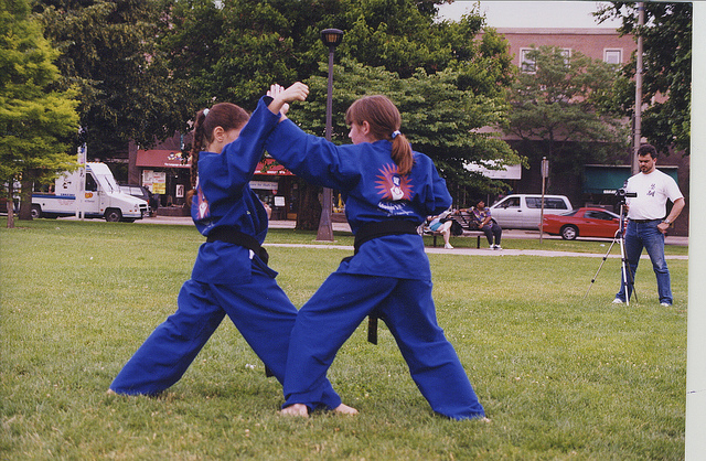 Kids Martial Arts Training Outside