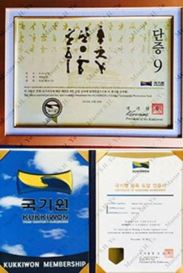 Kukkiwon World Tae Kwon Do Federation 9th Dan Certificate and Kukkiwon World Tae Kwon Do Federation Organization Membership