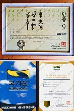 Kukkiwon World Tae Kwon Do Federation 9th Dan Certificate and Kukkiwon World Tae Kwon Do Federation Organization Membership